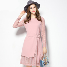2017 Spring New Arrival Women Dress Fashion Casual Lace Patchwork O-Neck Long Sleeve Dresses Slim Belt Knitted Vestidos