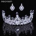 Mecresh Cristal Elegante Conjuntos De Jóias de Noiva Prata Banhado Coroas Brincos Parure Bijoux Femme Moda Jóias Conjuntos HG053