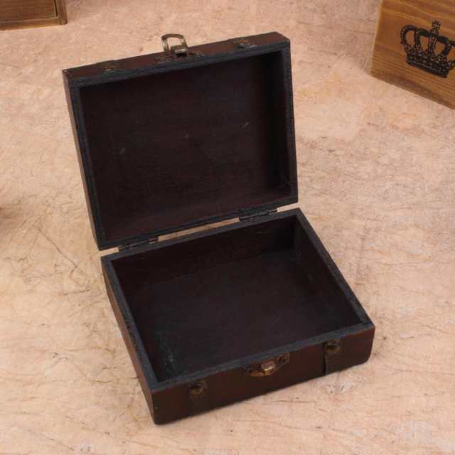 8b5730fab4c7 US $3.93 8% OFF|Stylish Vintage Metal Lock Decorative Trinket Jewelry  Storage Box Handmade Classical Wooden Treasure Case storage box  organizer-in ...