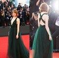 De veneza Emma Stone Red Carpet vestidos profundo decote em V suave Tulle império cintura andar de comprimento vestido longo celebridade para a festa