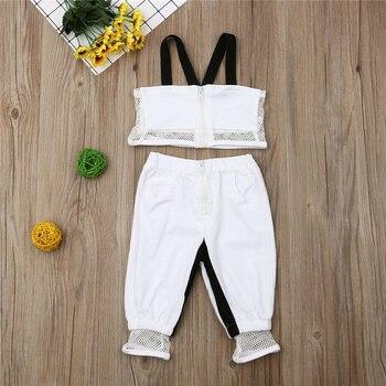2019 bebé de las muchachas de la ropa de los niños de malla correas T camisa + Pantalones trajes de bebé de silicona de Giyim Vetement Enfant Fille
