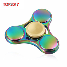 Rainbow Fidget Spinner Colour Hand Finger Tri Crab Minutes Spinner Aluminium Material Luxury Awesome Toys Unique Brand New 2017
