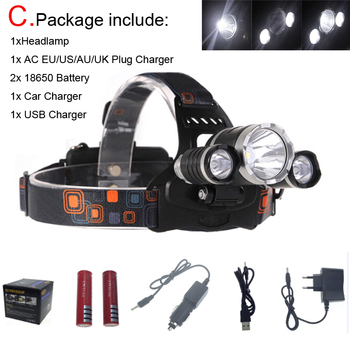 20pcs 13000 Lumen T6R5 Head Light Headlamp Outdoor Head Lamp HeadLight Rechargeable + 2* 18650 Battery/Charger/Car USB Charger