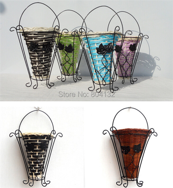 Metal Wall Vase one piece metal and rattan vase vase for artificial wall mounted