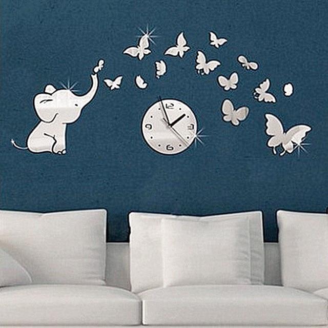 Elefante Chasing Petali Modello Fiore Wall Stickers Diy Specchio
