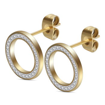 Round Crystal Stud Earrings Earrings Jewelry Women Jewelry Metal Color: Gold Color Main Stone Color: Clear