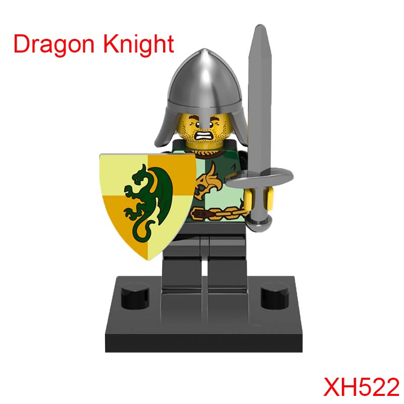Xh522 Medieval Dragon Frightening Knight Rome Soldiers Super Heroes Mini Bricks Education Building Blocks Toys For Children ancient knight 28pcs set soldiers and horses medieval model toy soldiers figures