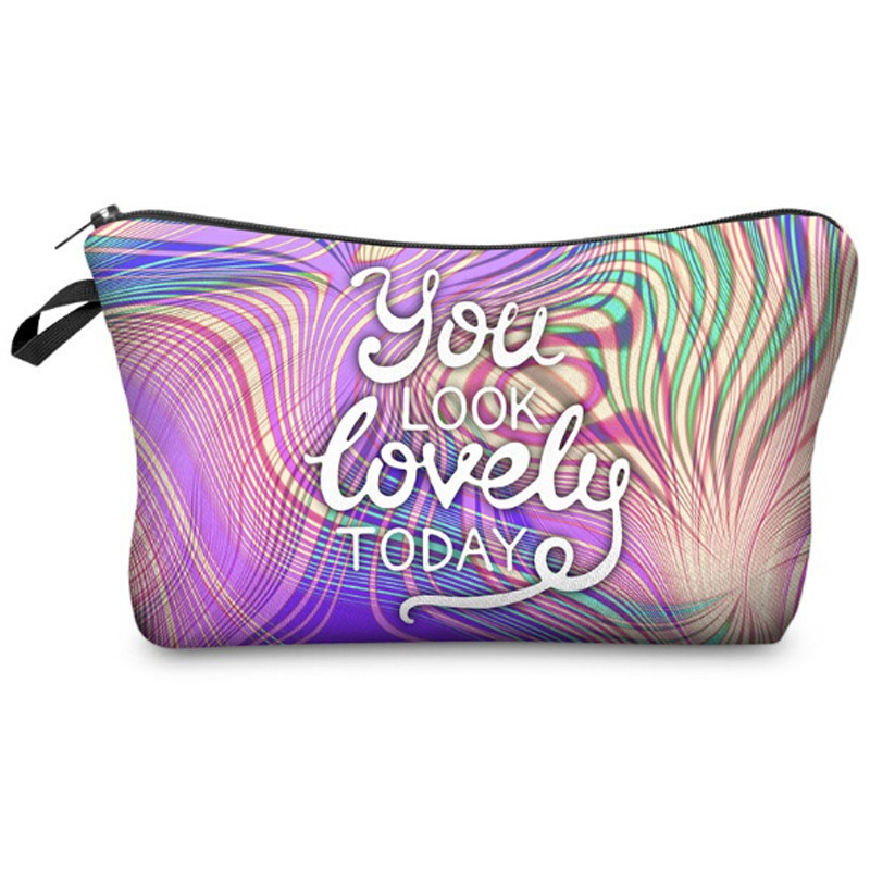 Letter YOU LOOK LOVELY TODAY 3D Printing Makeup Bag Necessaries For Travelling Storage Makeup Dropshipping