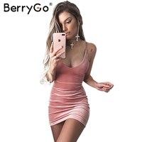 BerryGo Lace Up Velvet Dress Women Backless Short Party Sexy Dress Midi Dress Pencil Skater Bodycon