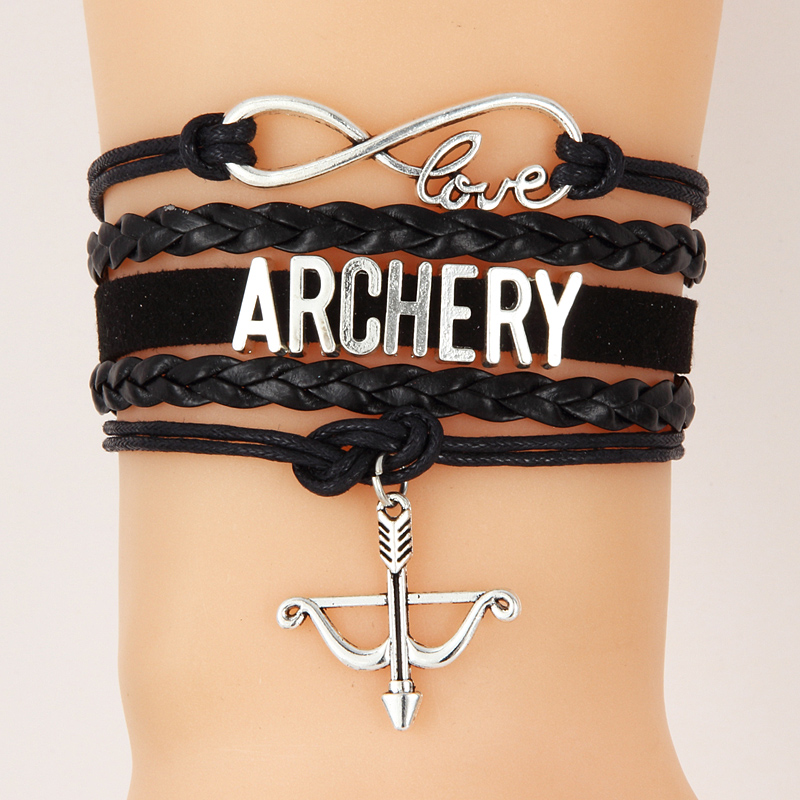 Drop shipping Infinity Love ARCHERY Bracelet & Bangles Handmade Braid Bow Arrow charm Bracelets Wrap Rope Jewelry For Women Men