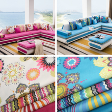 Wholesale Thick Linen Cotton Gourd Stripe Printed flannelette Diy Curtain Upholstery Sofa Fabric Wide 148cm