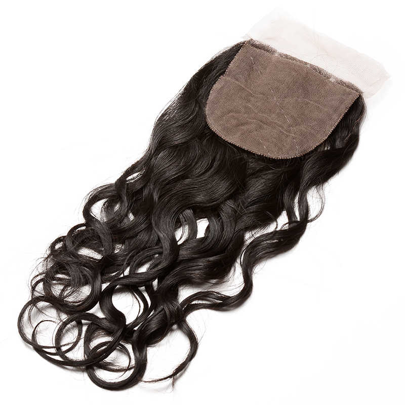 Water Wave Silk Base Closure Peruvian 100% Human Hair With Baby Hair Hidden Knots Closure Brown Lace Dolago Virgin Hair