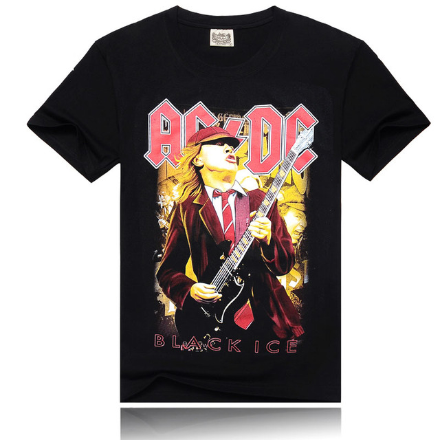 3D Print Men T shirt New Cool Fashion Guitar Hero AcDc High Quality 100%Cotton Punk Rock Hardrock O-neck Men Black Shirts