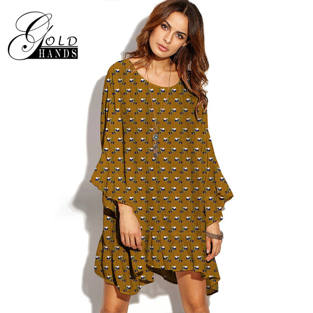 e4e0172bacd Gold Hands 2017 New Women Loose Boho Dress Short Bohemian Dresses O Neck Ruffles  Butterfly Sleeves Ethnic Style White Black