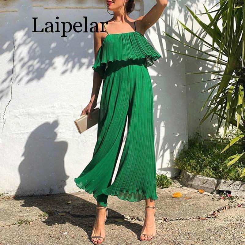 Laipelar Chiffon Green Ruffle   Jumpsuit   For Women Sexy Sleeveless Camis High Waist Cute Rompers Loose Long Womens Wide-Leg Ladies