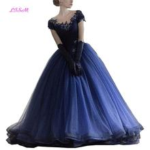 Dark Navy Ball Gown Quinceanera Dresses Scoop Lace Applique Prom Party Dress 2019 Sparkly Beaded Tulle Pageant Gowns