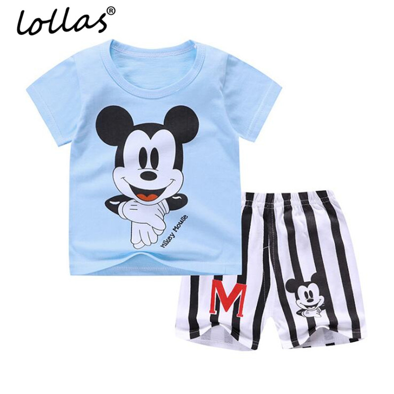 Lollas Summer 2018 New Cartoon Baby Clothes Baby Boy Clothes Set Cotton Baby Girl Clothing Suit Shirt+Pants Infant Clothes Set shirt baby boy summer clothes shorts sets baby boy set 100 cotton newborn baby girl summer clothes infant clothing suit outfits