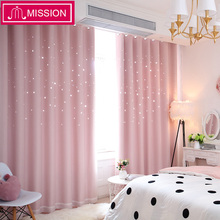 MISSION Hollow Star Thermal Insulated Blackout Curtains for Living Room Bedroom Window Curtain Blinds Stitched with white Voile