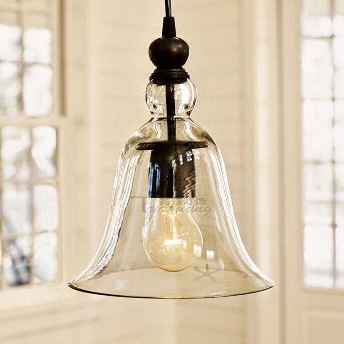 Américain style village cloches verre pendentif lumière unique tête restaurant café bar décoratif lampes