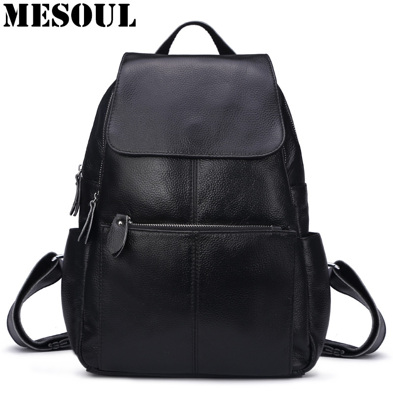 MESOUL Casual Backpack Women Genuine Leather Bag Natural Cow Leather Travel Backpack Mochila Feminina School Bag For Teenagers