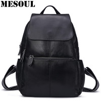 MESOUL Casual Backpack Women Genuine Leather Bag Natural Cow Leather Travel Backpack Mochila Feminina School Bag