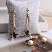 Japanese and Korean black star temperament pearl long earrings jewelry female
