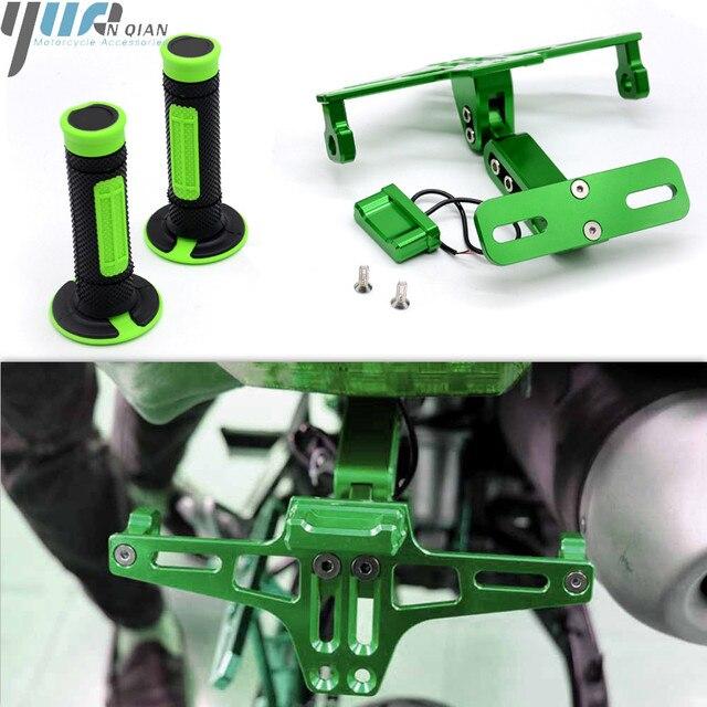 אופנוע CNC עם LED אור רישיון מספר צלחת מסגרת מחזיק סוגר 7/8 יד כידון עבור KAWASAKI Ninja ZX ZRX ZZR ER6 636