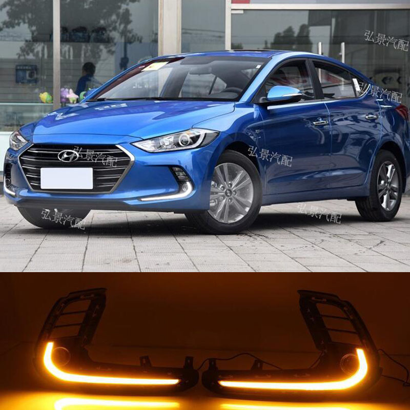 ФОТО Hireno Super-bright LED Daytime Running Light for Hyundai Elantra 2016 Car LED DRL fog lamp 2PS