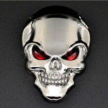 Yüksek kaliteli kafatası kemik araba motosiklet oto krom gümüş 3D Metal amblem rozeti çıkartma
