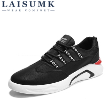 2019 LAISUMK Brand Fashion Style Casual Shoes Men Lace-up Mens Flats Shoes, Breathable Black Sneakers Mens Shoes Chaussure Homme