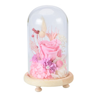 WR Wedding Decoration Immortal Flowers Preserved Aritificial Dried Pink Rose In Glass Dome For Girlfriend Valentine