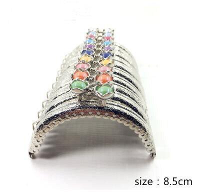 20шт/10 шт 8,5 см сумка в форме головы лотоса, застежка в виде поцелуя, светильник с золотым полукольцом, металлическая рамка для кошелька, аксессуары для шитья - Цвет: Антикварное серебро