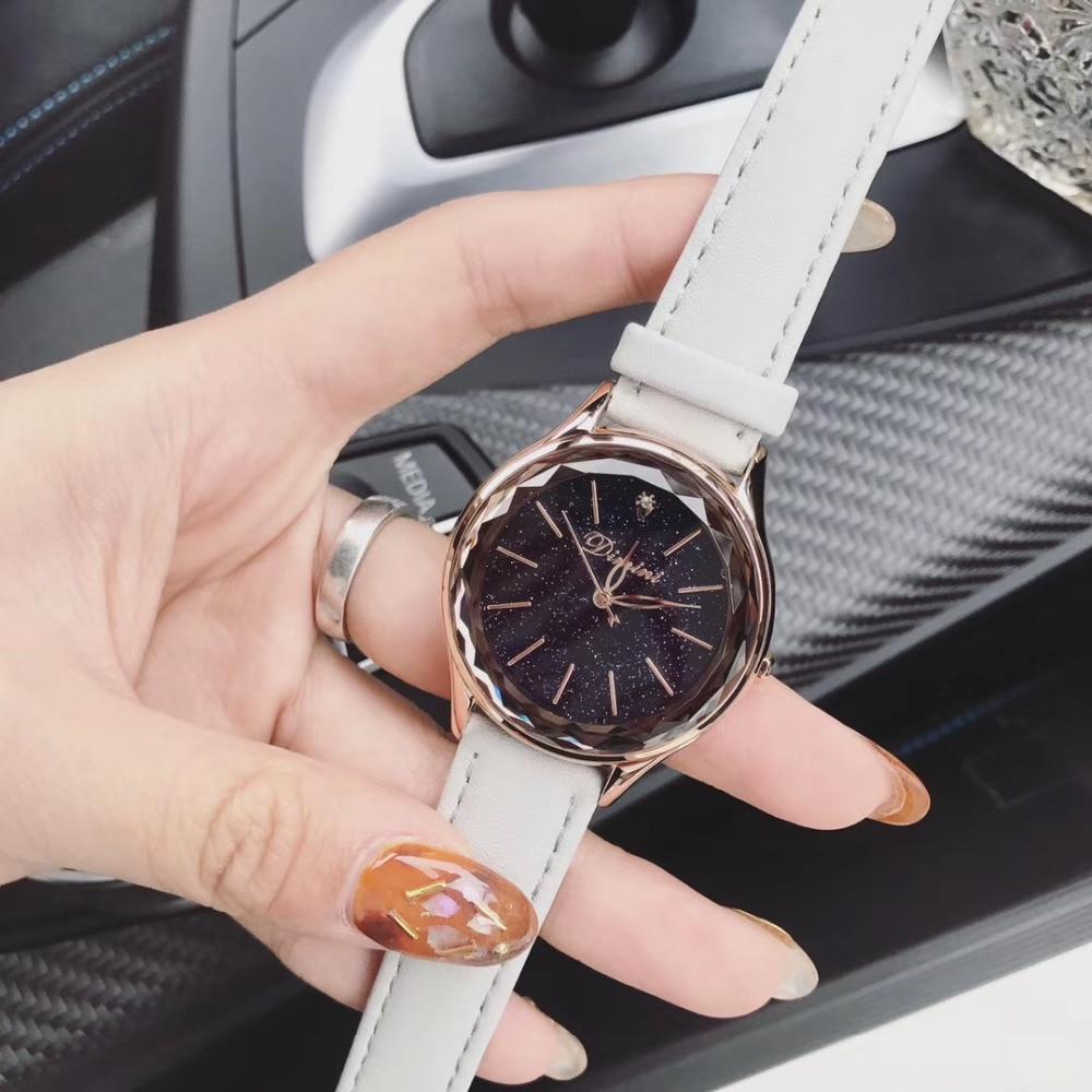 Nouveau mode femmes bonbons couleurs réel bracelet en cuir montres Multi facettes verre cristal montre filles étudiants Quartz montre-bracelet