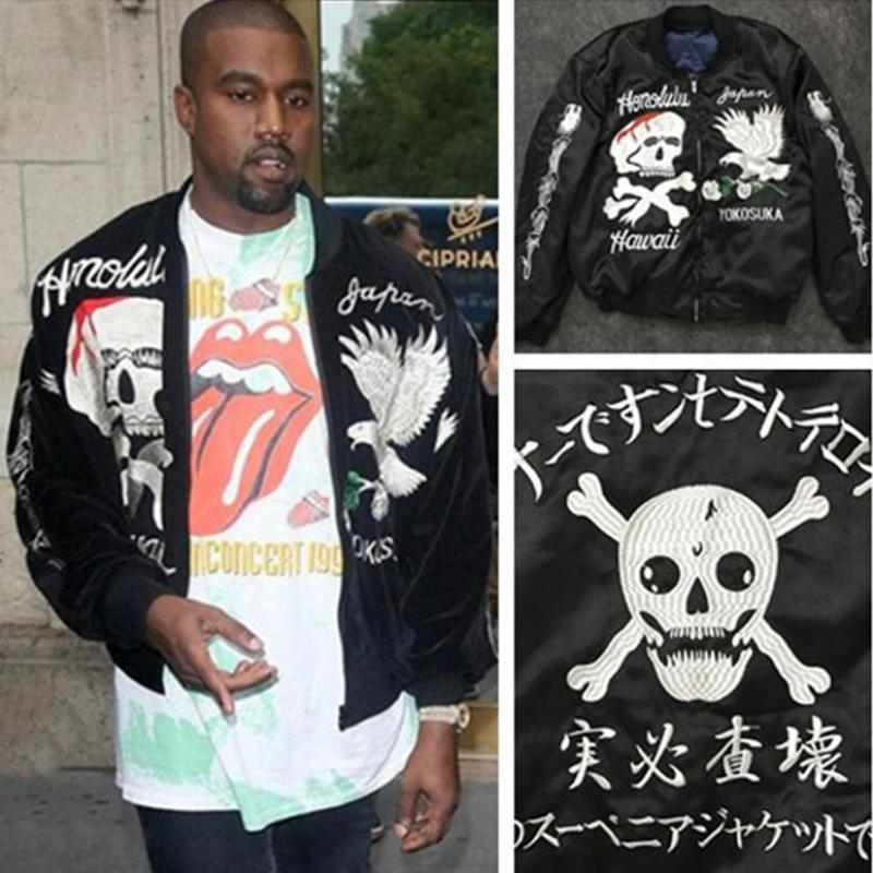 2016 winter Kanye West Jacket Mens Ma1 Bomber Jacket Clothing Thicken Yokosuka Coats Eagle Skull JacketS Streetwear