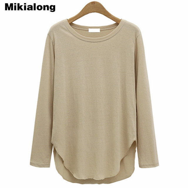 103bb0dc5bdf Mikialong Autumn Plain T Shirt Women Cotton Long Sleeve Basic T-shirts  Female Casual Tops Loose Irregular Hem Tee Shirt Femme