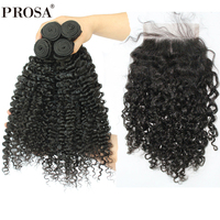 3B 3C Kinky Curly Human Hair Bundles With Closure Brazilian Natural Hair Weave Bundles With 4X4 Closure Remy Hair Prosa