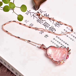 Image 3 - Dropshipping Natural Pink Crystal Laughing Buddha Pendant Mosaic Clavicle Chain Necklace Simple Female models Fashion Jewelry