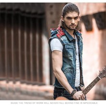 Vintage High Quality Brand New Mens Single Breasted Sleeveless Vests Hooded Jean Jackets Cowboy Motorcycle Waistcoats Plus Size