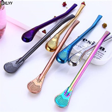 BXLYY Colorful Variety of 304 Stainless Steel Straw Spoon Cocktail Stir Bar Tools Wedding Decoration Valentines Day Gift.8z