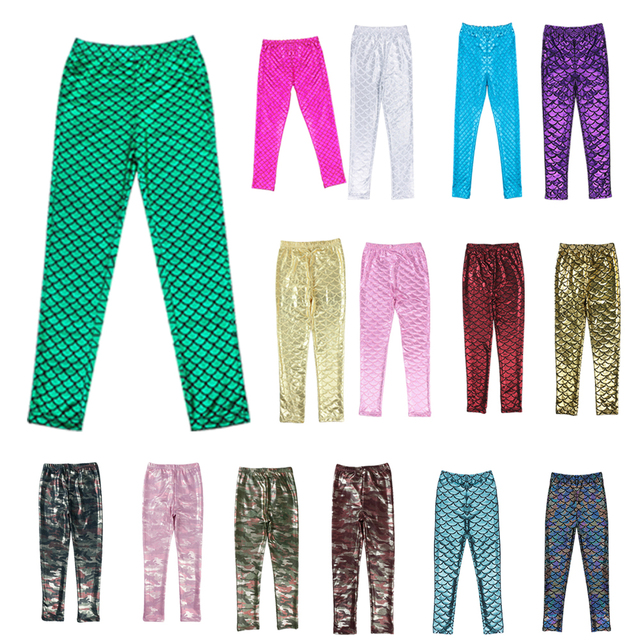 New Arrival Summer Style 15 Color Fashion Bling Bling Leggings Pants Girls Kids Mermaid Pants Sports Comfortable Colorful Pants