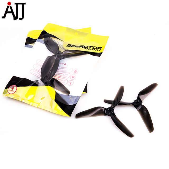 10Pairs BeeRotor BW 5x5'' 5050 CW CCW Propeller 3-Blades Props Transparent Black Blue Pro BW5050-Black-5