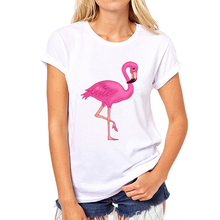 Women in the summer of comfortable printed white T-shirt The flamingo girl t-shirts 2019 printing Flamingos women t shirt 35W-5#