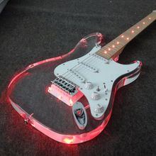New Product  Led light acrylic electric gutiar with red color neck guitar