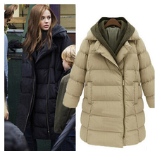 New 2015 Fashion Brand Long Winter Coat Women Cotton Down Jacket Female Parka With Hood Khaki Black Outwear For Women SS38