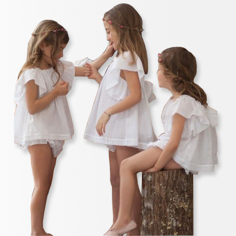 Princess Girl Clothing Sets Flare Sleeve Tops ruffles Pants Party Costumes Girl Clothes Toddler Baby Girls Clothing Kids Clothes fashion girls new suit tops and pants 2 sets flare sleeve lotus leaf pattern o neck lace bass pants street style girl clothes