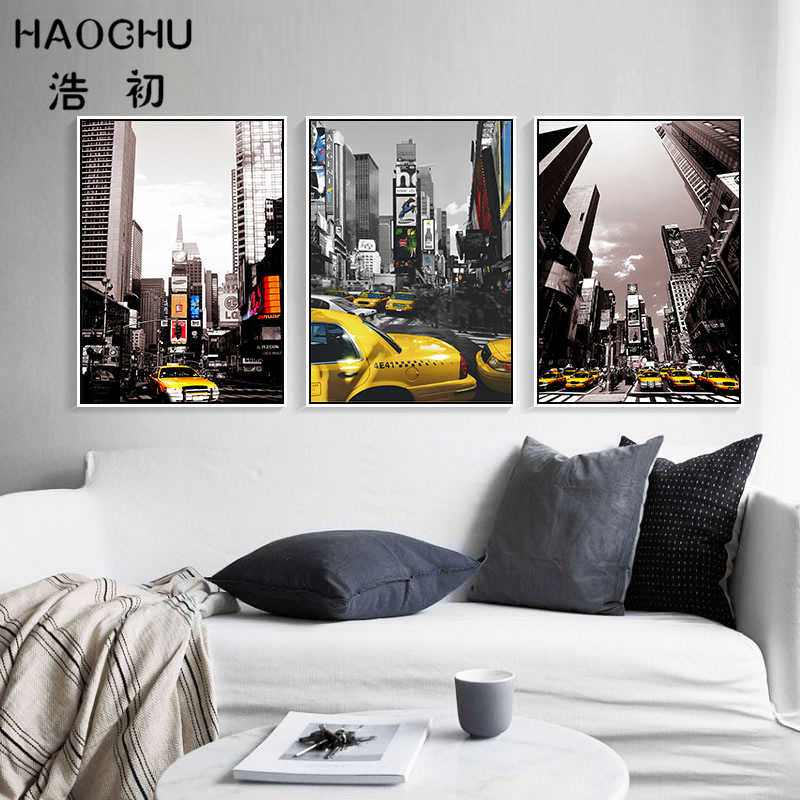 HAOCHU Modern Canvas Painting American City Street Downtown Landscape Picture Black White Art Poster Wall Panels for Living Room