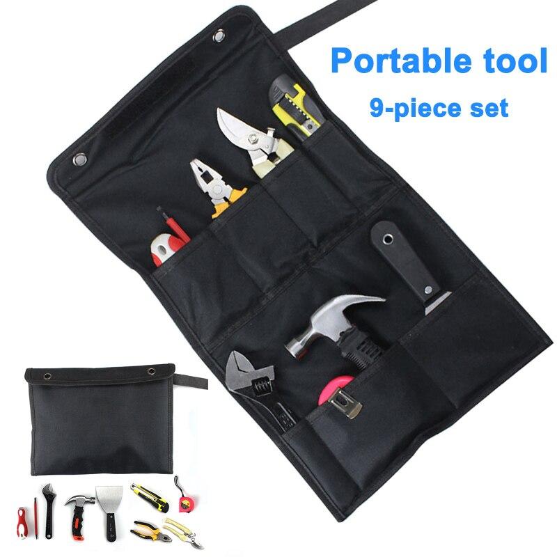 9 pièces accueil outils de réparation électrique Kit pince fil clé ruban à mesurer griffe marteau avec sac de rangement WWO66