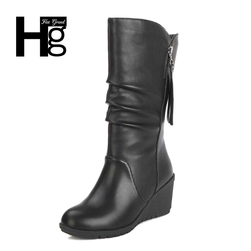 HEEGRAND Women Autumn Mid-calf Boots Flock Super Warm Zip Winter Autumn Shoes Black Casual Lady Young Girl Fashion Boots XWX6201 рюкзак case logic 17 3 prevailer black prev217blk mid