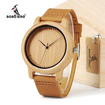 BOBO BIRD простые мужские бамбуковые часы 43 мм деревянный циферблат с кожаным ремешком в подарочной коробке