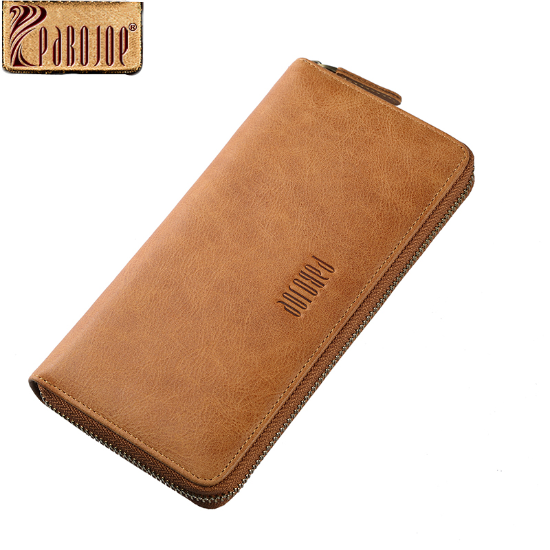 Pabojoe Mens Genuine Leather Long Wallet Casual Coin  Purse Credit Cards Holder Solid Style Men Clutch